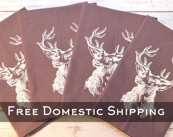 Purple Stag Cotton Napkins - Set of 4