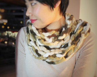 """Infinity Wool Scarf Brown or wine. One piece """"BrownNest11"""""""