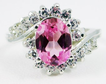 Pink Sapphire and CZ Swirl Ring Sterling Silver