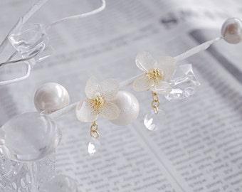 Real hydrangea preserved flowers earrings