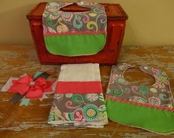 Pink, grey, and green bib, burp cloth, and headband set