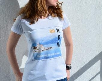 Womens top 'Hvar Island' - cotton t shirt -  original design by ©WhenWomanTravels