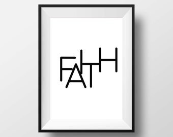 Faith, typography poster, love hope faith set, wall art, home print, printable wall art, downloadable print, digital art, black and white