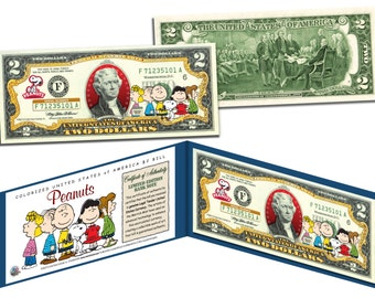 """PEANUTS """"Original Gang"""" or """"Snoopy as the Red Baron"""" Two Dollar Bill US Genuine Currency"""
