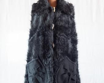 Coat faux fur sleeveless