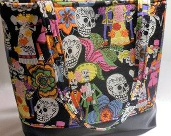 Large La Calavera Catrina tote, Sugar Skull tote bag, Dia de los Muertos, Day of the Dead tote baby bag, Handmade Sugar Skull diaper bag