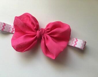 Hot pink chiffon bow, big bow, headband, i like big bows, chiffon