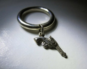 Sterling Silver Gun Charm Ring