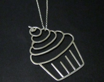Sterling Silver Cupcake Pendant