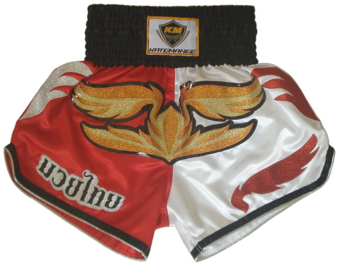 Muay Thailand Boxing Shorts for Training and Sparring Boxing Trunks Martial Arts - RED/WHITE