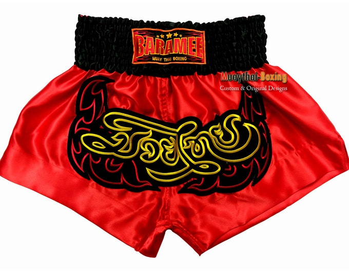 Muay Thailand Boxing Shorts for Training and Sparring Boxing Trunks Martial Arts - RED