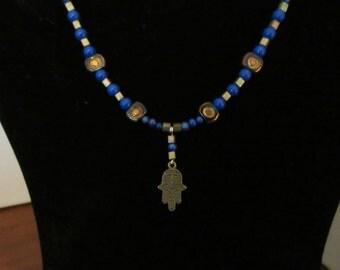 Lapis Lazuli and Antique Gold Hamsa Necklace