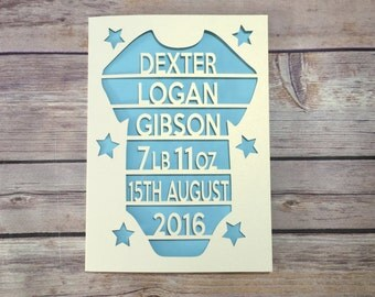 Baby Boy Card, Papercut, Personalised Baby Card, Birth Announcement, Custom Baby Card, Baby Gift, Baby Keepsake, New Baby Card, New Arrival