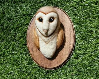 Barn owl faux taxidermy needle felt wall mount