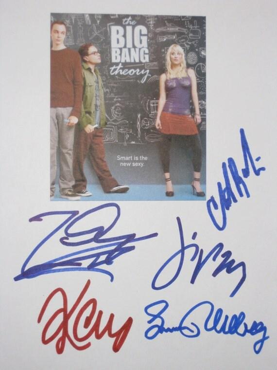 The Big Bang Theory Signed X5 TV Screenplay Script Kaley Cuoco Johnny Galecki Jim Parsons Simon Helberg Christine Buranski autograph