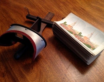 Vintage Stereograph Viewer and Color Stereograph Photos 1925