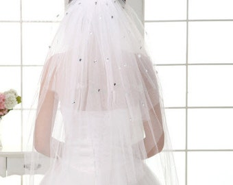 Fun Multi Layer Veil with Crystals