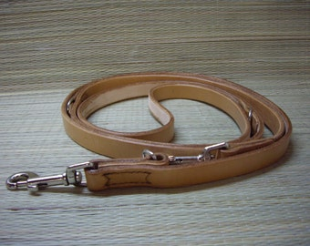 """Dog leash, 3-way adjustable in """"nature / oiled"""" leather"""