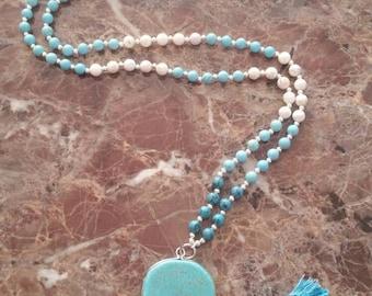 Turquoise yoga meditation necklace