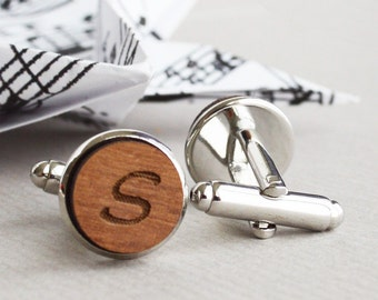 Personalized Cufflinks - Custom Cufflinks - Personalized Custom Wood Initial Cufflinks , Cuff Links with silver surrounding