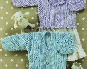 Baby V Neck Cardigan And Frilled Edged Cardigan Knitting Pattern. PDF Instant Download.