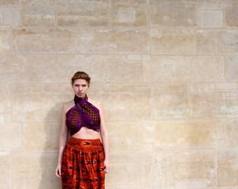 Long skirt high waist flared in wax