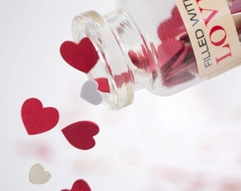 """Favour glass bottle with card confetti hearts """"filled with love"""" (single bottles)"""