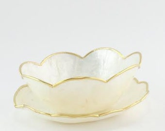 Vintage Oyster Shell Saucer and matching Bowl, Gold Plated
