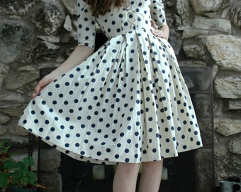 White and blue polka dot vintage dress