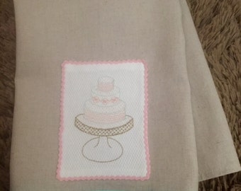 Tiered Cake on Stand Embroidered Tea Towel