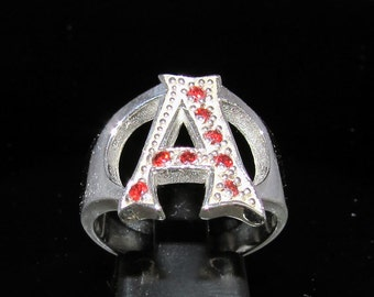 Sterling silver initial ring A capital letter with 8 red cz's