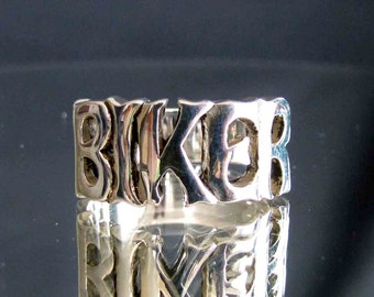Sterling silver ring Biker one word - letter ring