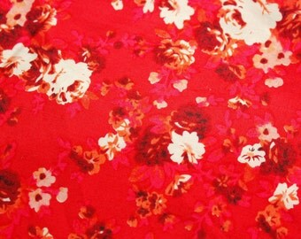 Extra Wide Fabric / Floral Fabric / Cotton Fabric / Super Red / Medium Size Roses /Dress Skirt Blouse Quilt Patchwork Supplies / Half Metre