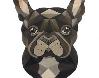 Geometric French Bulldog animal art