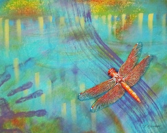 Dragonfly Ceramic Tile, Flames in the Darkness