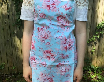 Tanya Whelan Floral Apron Blue Background FREE SHIPPING to US