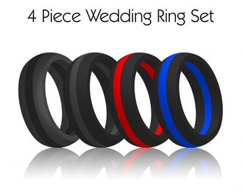 4 piece set mens striped silicone wedding ring bands flexfit hypoallergenic modern athletic wear for - Hypoallergenic Wedding Rings