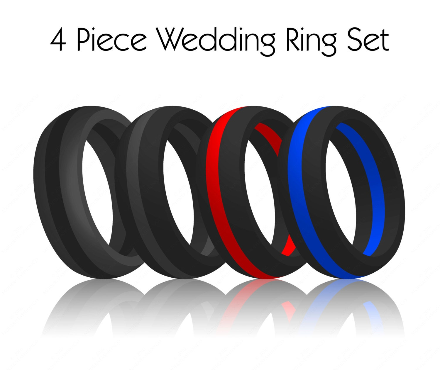 4 Piece Set Men S Striped Silicone Wedding Ring Bands