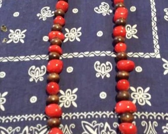 Red Agate and Wood Necklace
