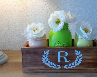 Personalized rusitc planter box Inital planter box wedding decor planter box wood centerpiece planter box mini wood plater box