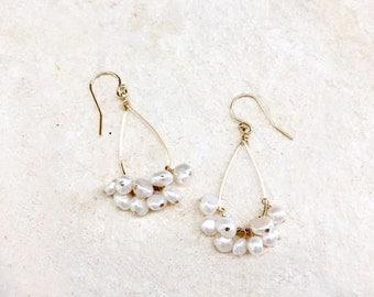 SOLD* Freshwater Pearl Teardrop Hoop Earrings, 14k gold-fill