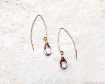 Lavender Amethyst Hook Earrings, 14k gold-fill