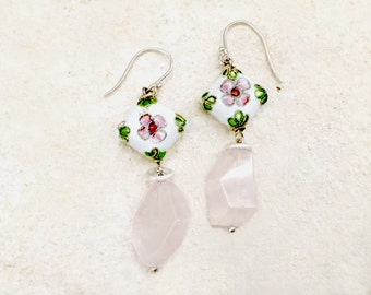 Hand Painted Floral Pattern + Rose Quartz Earrings, 925 Sterling Silver