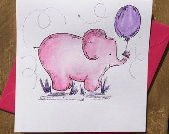Watercolor Elephant card - Personalized free - Birthday-New baby-Getwell - Original painting