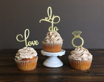 Engagement cupcake toppers, bridal shower, bridal shower decorations, cupcake toppers, engagement party decorations, engagement decorations