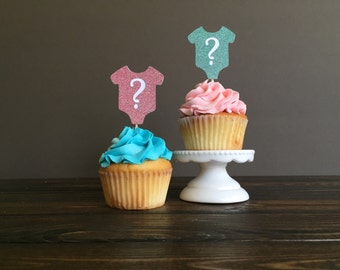 Gender reveal cupcake toppers, Cupcake topper Baby shower, gender reveal party decorations, first birthday cupcake topper