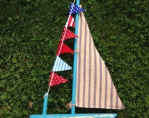 Driftwood and Macrame Sail Boat with 'floats'. [BTS36]