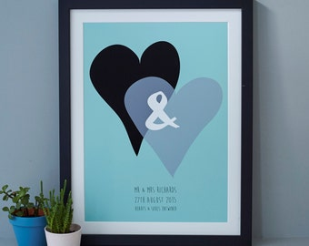 Hearts Personalised Wedding Print. Ampersand, romantic print, wedding, anniversary.