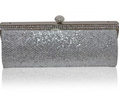 Silver  Black Snake Effect Diamante Encrusted Clutch Bag Evening Purse