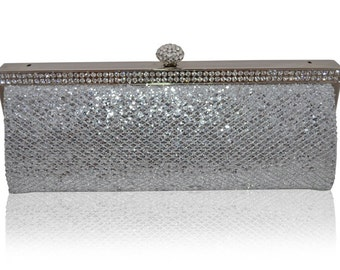 Silver / Black Snake Effect Diamante Encrusted Clutch Bag Evening Purse